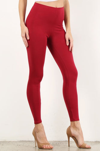 Deep Red Mid Waist Cotton Leggings