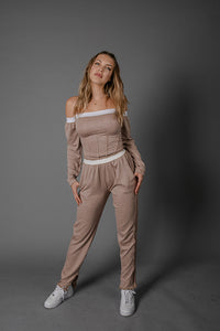 Dusty Pink French Terry Bardot Set