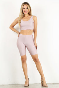 Light Pink Shiny Biker Set