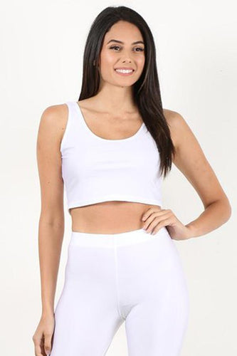 White Shiny Crop Tank