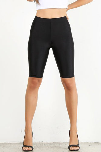Black Shiny Disco Biker Short