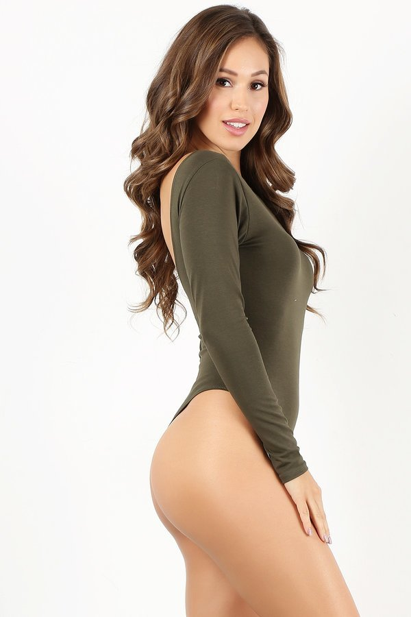 Olive Long Sleeve Thong Bodysuit