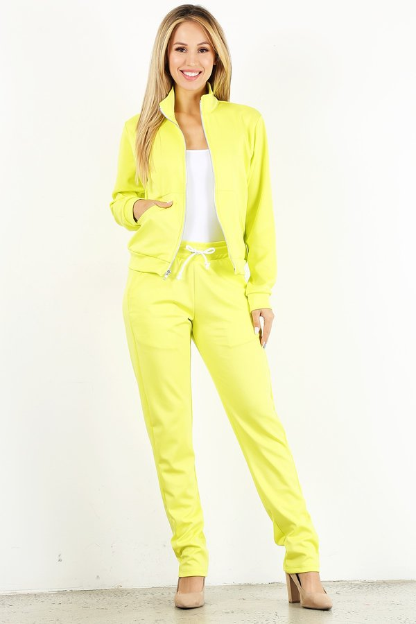 Neon Yellow Tracksuit Set