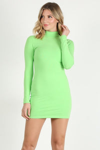 Neon Green Long Sleeve Mini Dress