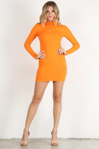 Neon Orange Long Sleeve Mini Dress