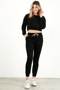 Black Crop Crew Neck Set