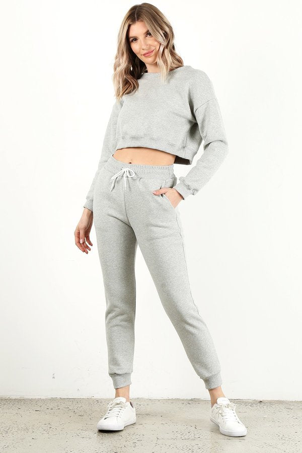 Heather Grey Crop Crew Neck Set