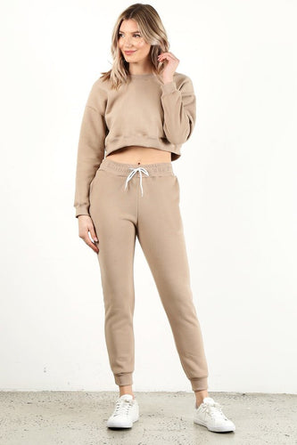 Beige Crop Crew Neck Set
