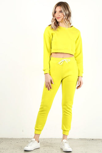 Neon Yellow Crop Crew Neck Set
