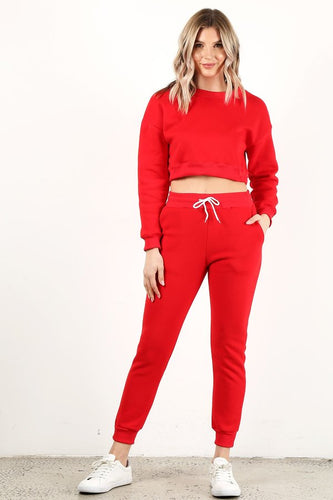 Red Crop Crew Neck Set