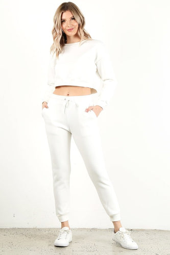 White Crop Crew Neck Set