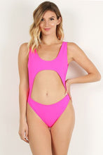 Load image into Gallery viewer, Neon Pink Open Front Swimsuit