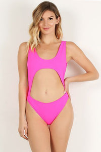 Neon Pink Open Front Swimsuit