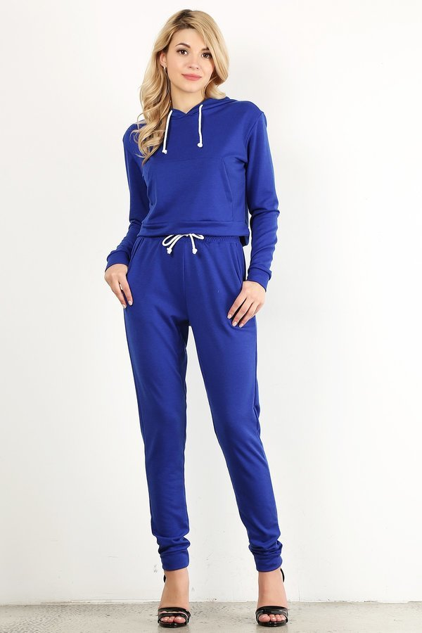 Royal Blue Sweat Suit Set
