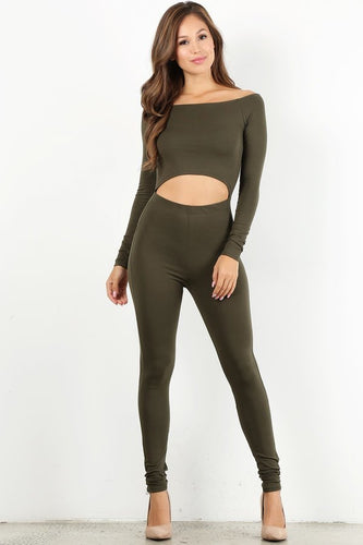 Olive Off The Shoulder Unitard
