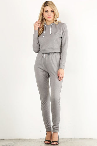 Heather Grey Sweat Suit Set