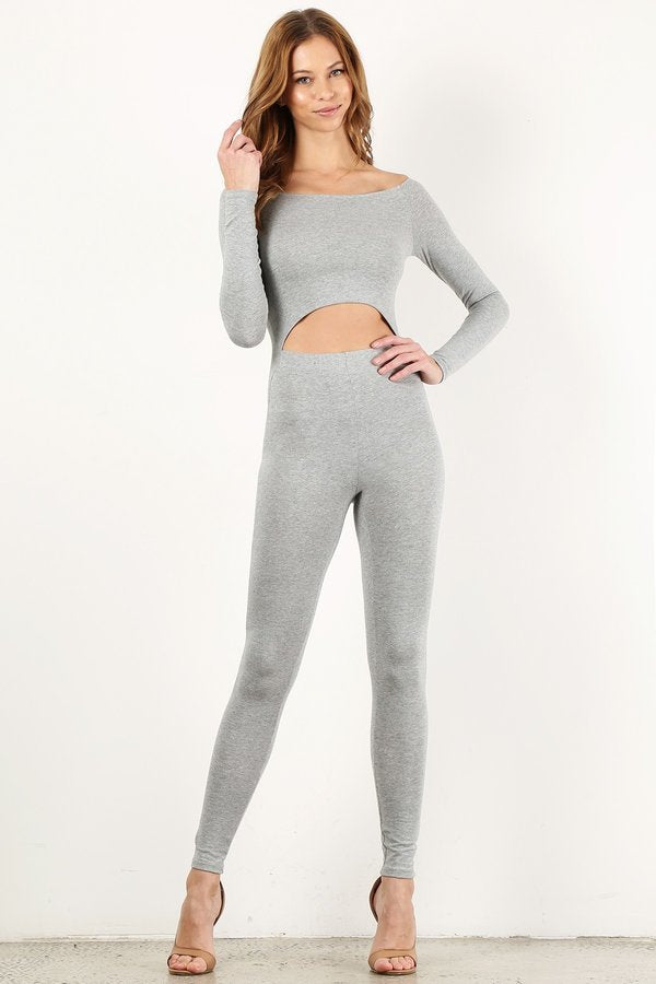 Heather Grey Off The Shoulder Unitard