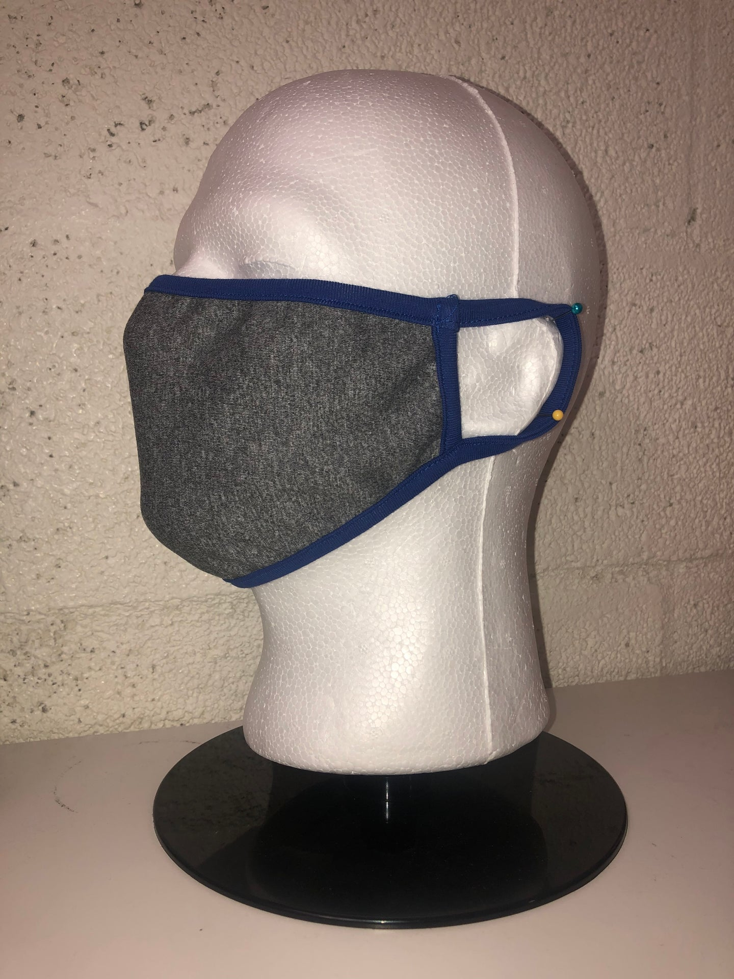 Grey Chambray Dodger Blue Edge Face Mask
