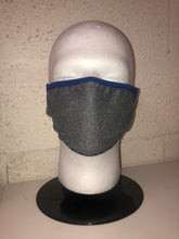 Load image into Gallery viewer, Grey Chambray Dodger Blue Edge Face Mask