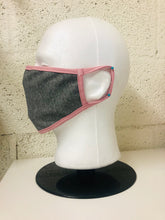 Load image into Gallery viewer, Grey Chambray Dusty Pink Edge Face Mask