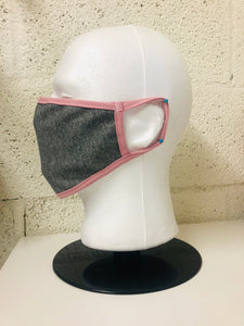 Grey Chambray Dusty Pink Edge Face Mask