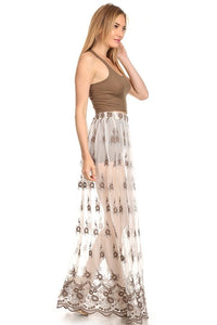 Taupe High Waist Mesh Skirt