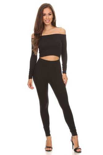 Black Off The Shoulder Unitard
