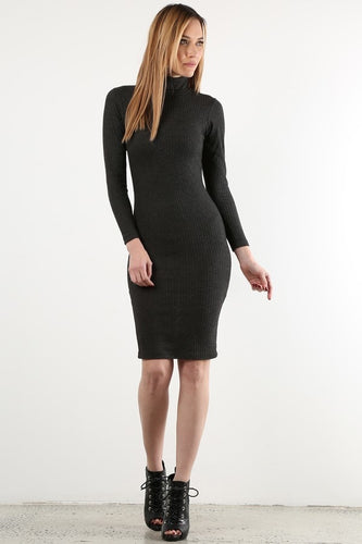 Charcoal Long Sleeve Sweater Dress