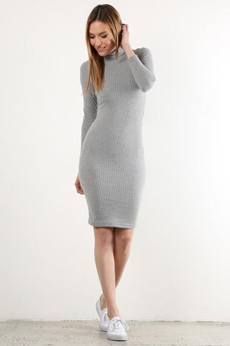 Heather Grey Long Sleeve Sweater Dress