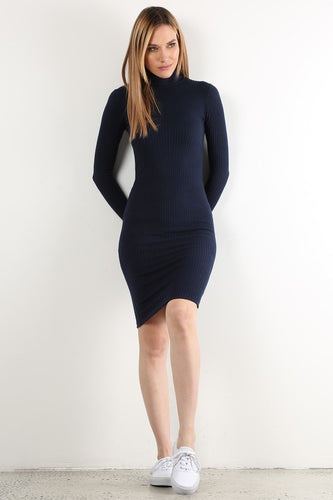 Navy Long Sleeve Sweater Dress