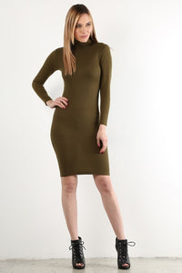 Olive Long Sleeve Sweater Dress