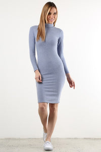 Light Blue Long Sleeve Sweater Dress