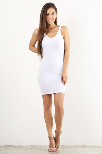 White Low Back Tank Mini Dress
