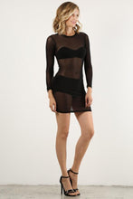 Load image into Gallery viewer, Black Mesh Mini Dress