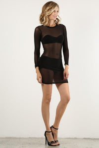 Black Mesh Mini Dress