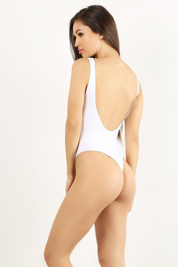 White Low Back Thong Bodysuit