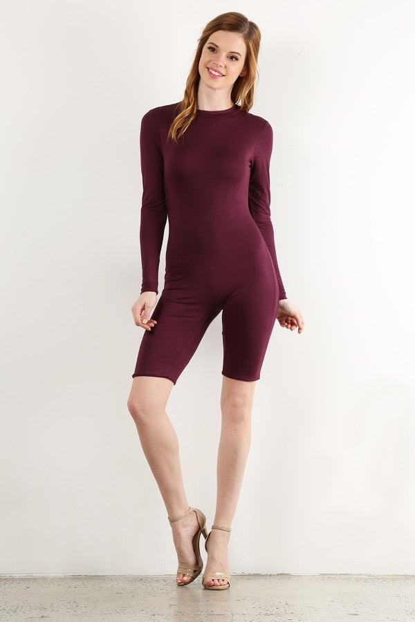 Plum Biker Short Jumpsuit