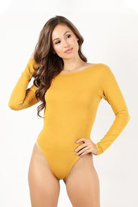 Mustard Long Sleeve Thong Bodysuit