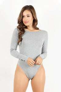 Heather Grey Long Sleeve Thong Bodysuit