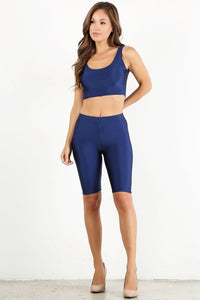 Navy Shiny Crop Tank