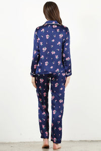 Blue Floral 4pc Pajama Set