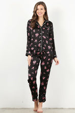 Load image into Gallery viewer, Black Floral 4 pc Pajama Set