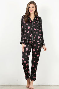 Black Floral 4 pc Pajama Set