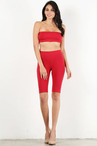 Red Bandeau Biker Set