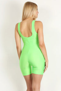 High Light Green Shiny Short Unitard