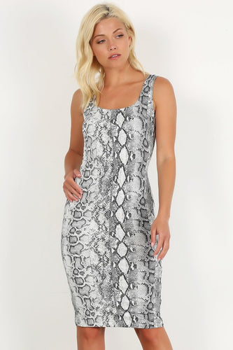 Snake Print Bodycon Tank Dress