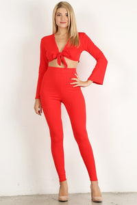 Red 2pc Top Flare Set