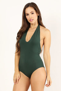 Hunter Green Halter Bodysuit