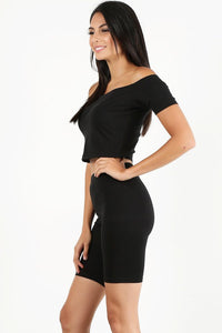 Black Off-the Shoulder Biker Set