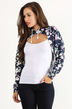 Load image into Gallery viewer, Blue Floral Crop Hoodie
